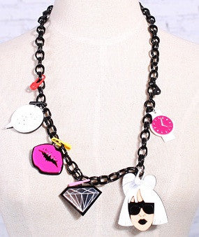 GAGA Kisses Diamonds Charms Necklace