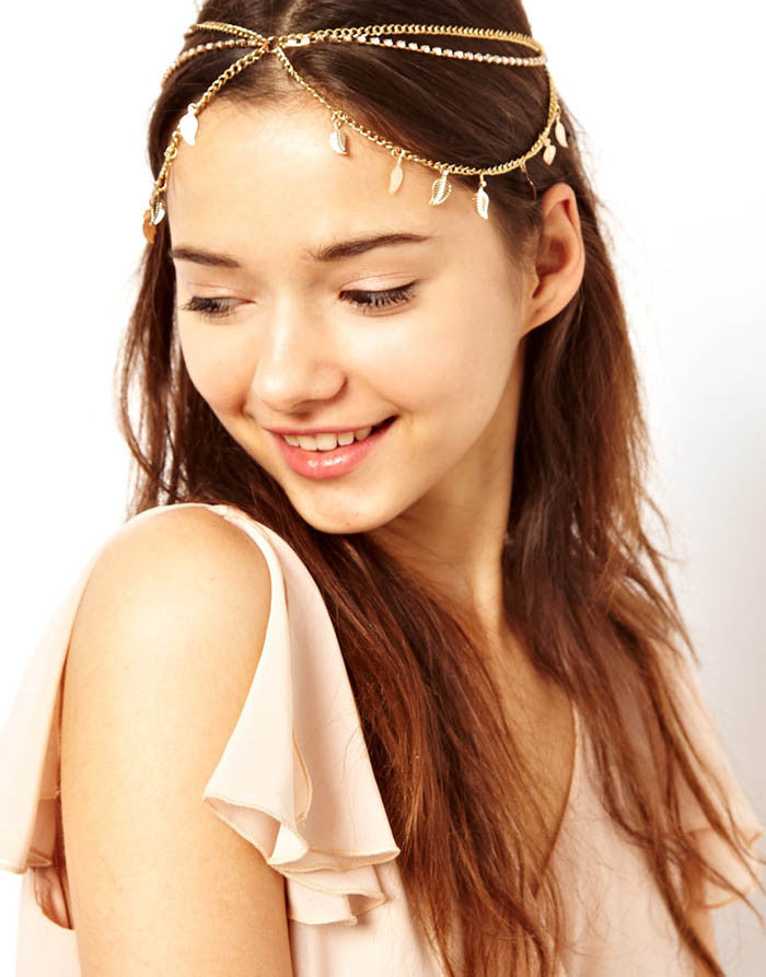 Leaf Charms Chain Crown Head Band