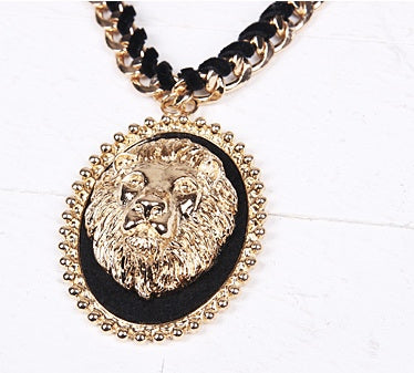 Lion Black & Gold Necklace