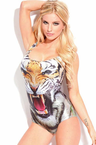 Tiger Head Print Bathing Suit