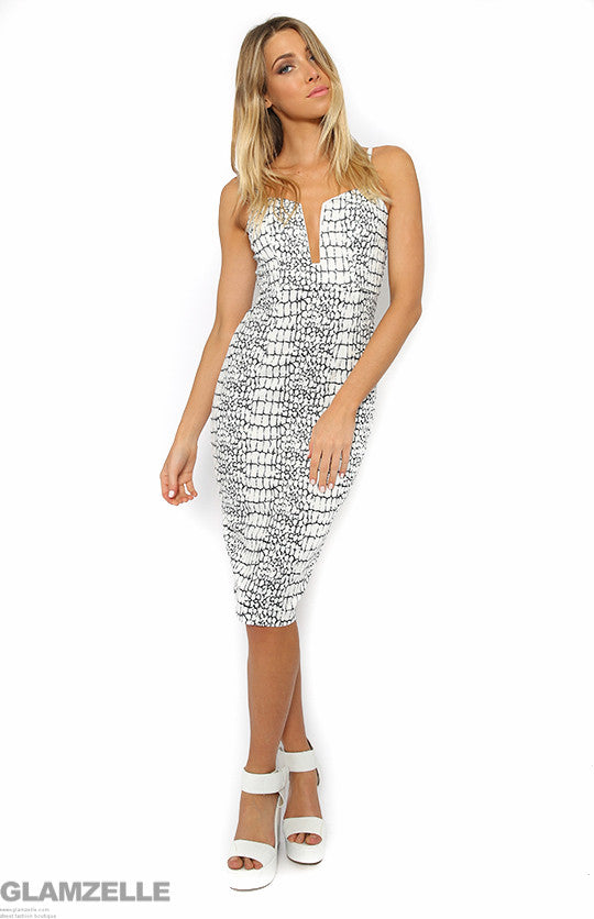 """Only You"" White Grey Croc Print Bodycon Dress"