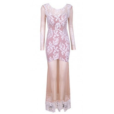 """Delicate Dreams"" Transparent Flowers Maxi Dress"