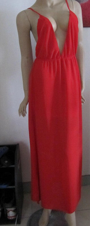 """Stroke of Lust"" Deep V Neck Red Maxi Dress"