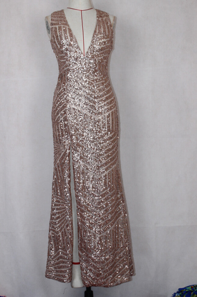 """Sequin Diva"" Long Gold Maxi Dress"