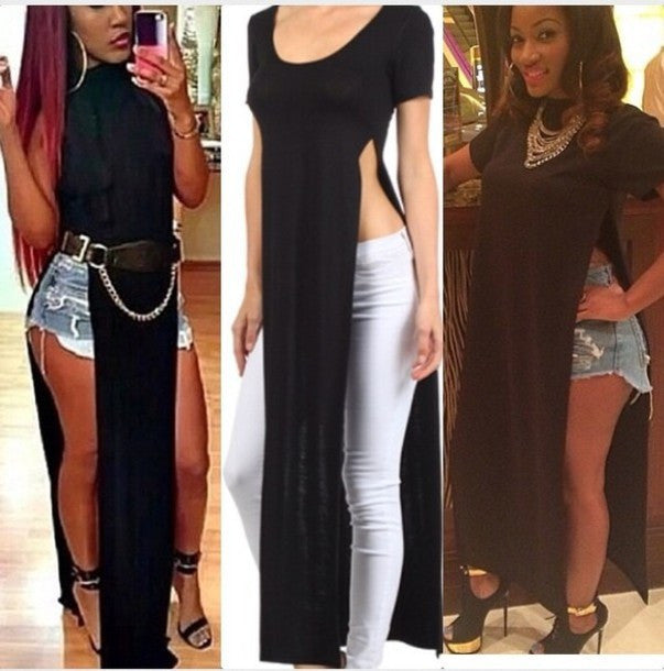 """Trendy Betch"" Side Cut Maxi Tee (4 colors available)"