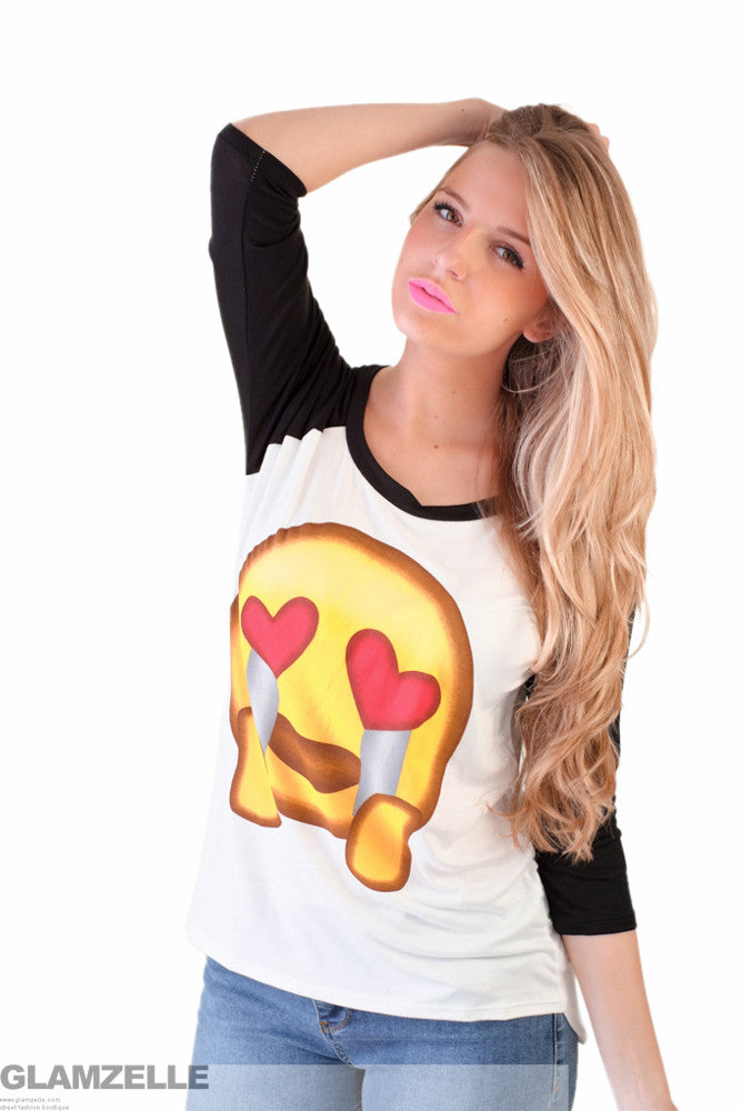 """Crying Hearts"" Emoji Print Baseball Shirt"