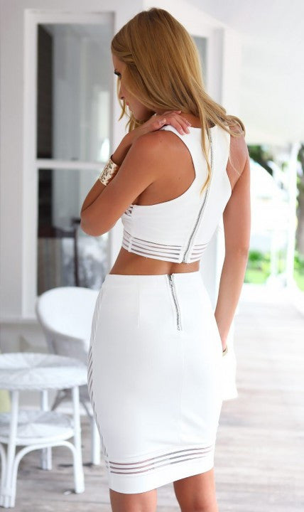 """Forever Yours"" White Mesh Two Pieces Cutout Dress"