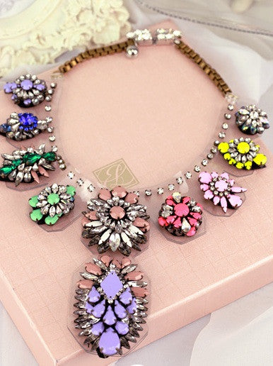 Multicolor Resin Flowers Necklace