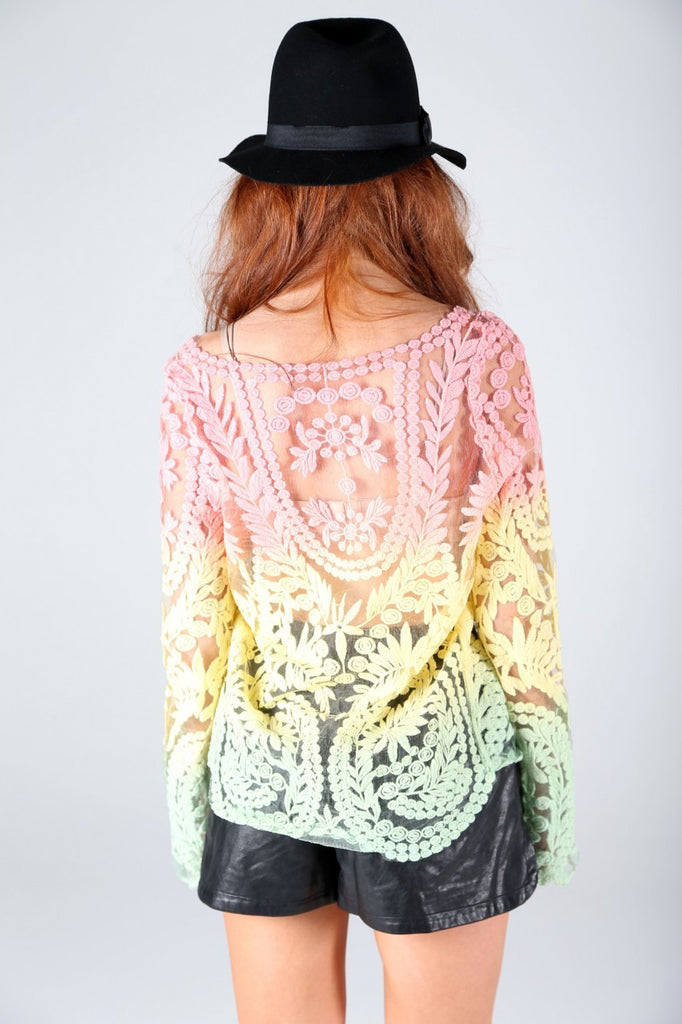 Tie-Dye Multicolor Lacey Summer Tunic (2 COLORS AVAILABLE)