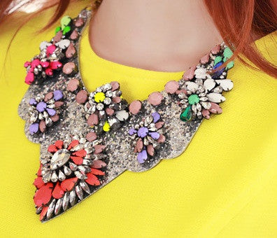 Multicolor Crystal Embellished Necklace