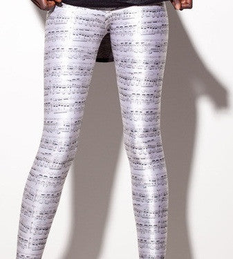 Music Sheet Print Leggings