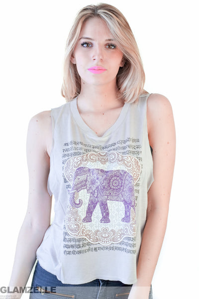 "NAMASTE ""Royal Power"" Elephant Print Tank Top"