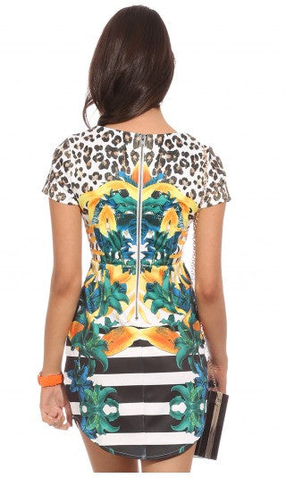 """Leopard, Stripes & Nature"" Print Cutout Dress"