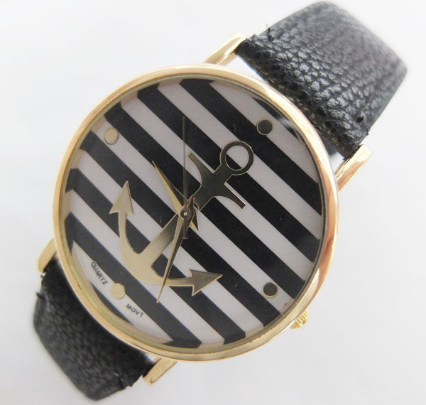"""Ahoy"" Sailor Anchor Print Watch (4 colors available)"