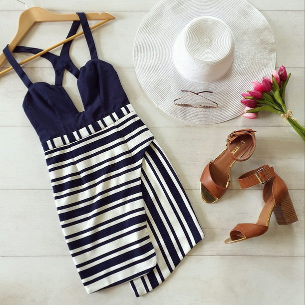 """Yacht Trip"" Navy Blue Stripes White Dress"