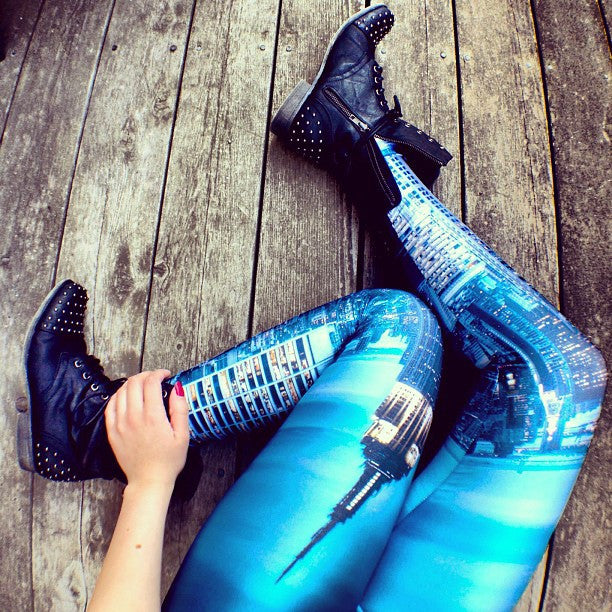 New York Skies Print Skinny Leggings