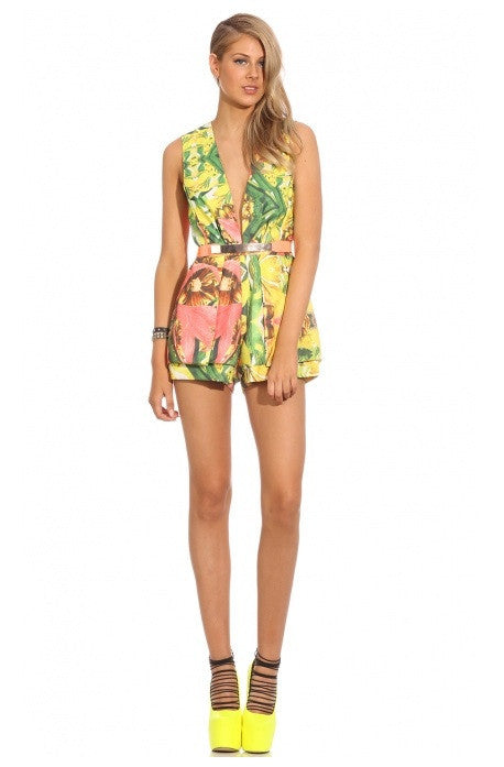 "CHIC ""Next in Line"" Tropical Print Playsuit (2 colors available)"