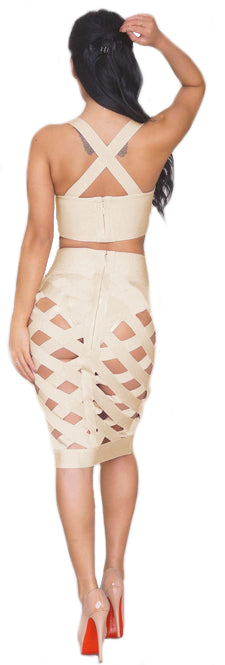 """The Ying to my Yang"" Grey Cutout 2 pieces Bandage Dress"