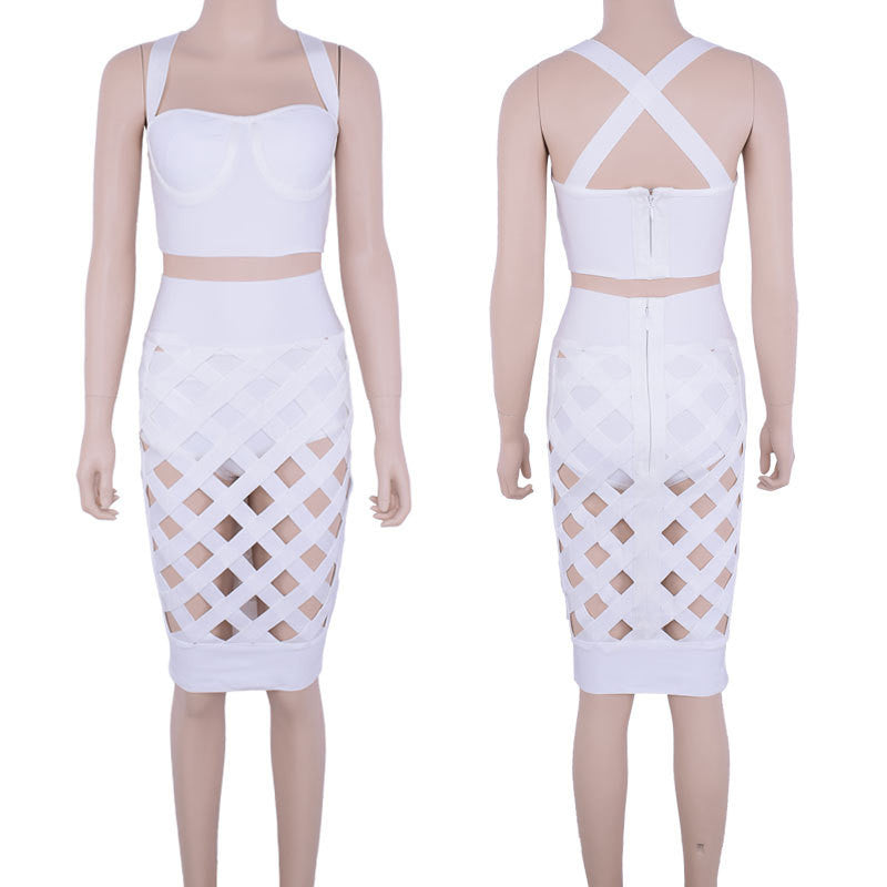 """The Ying to my Yang"" Caged Cutout 2 pieces Bandage Dress (4 colors available)"