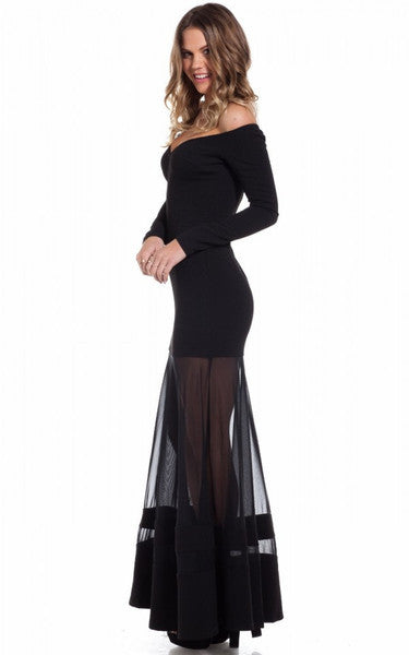 """Love Hate"" Black Bare Shoulders Maxi Dress"