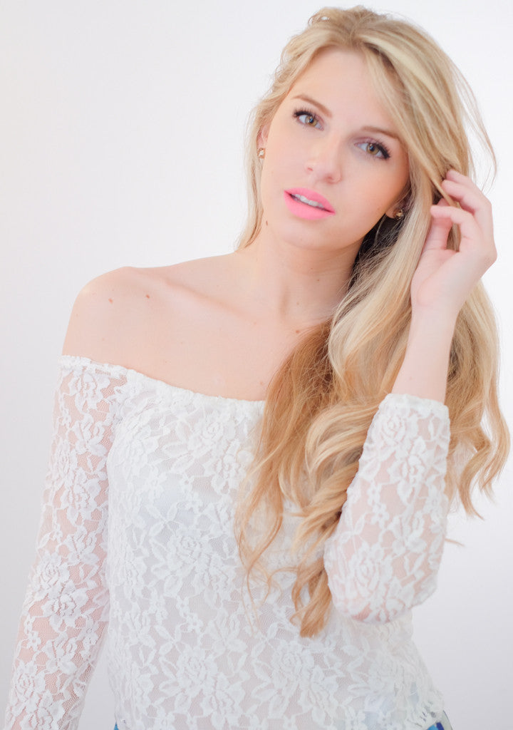 BOHO White Lace Off the Shoulder Top
