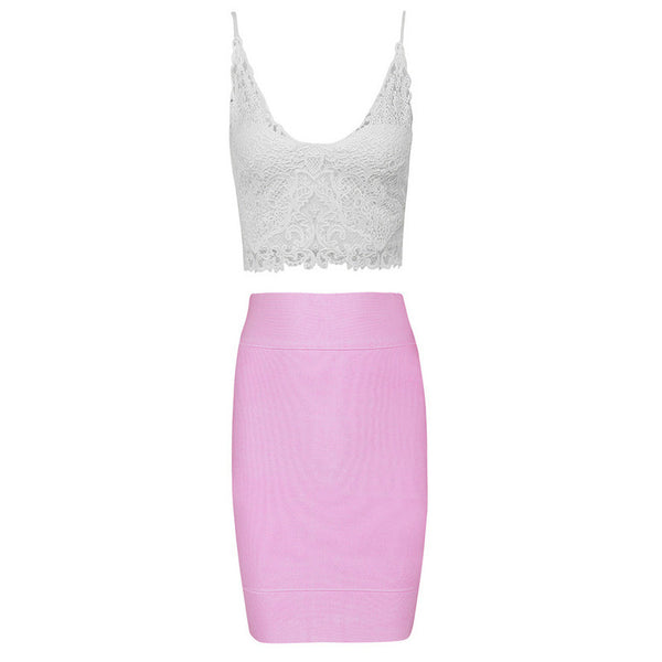 """One of a Kind"" Pink Crochet 2 Pieces Bandage Dress"