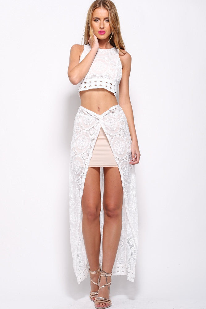 """Unconditional Love"" Laces Cutout Maxi Skirt (2 colors available)"