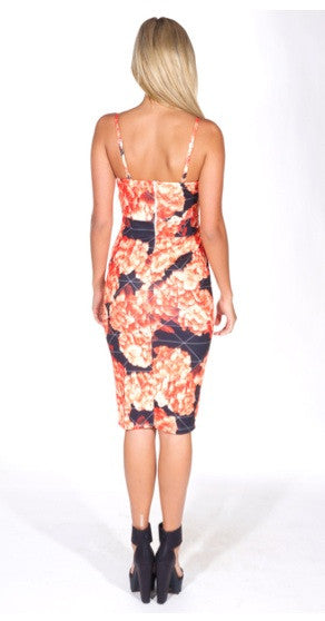 """Night Confession"" Orange Roses Bodycon Dress"