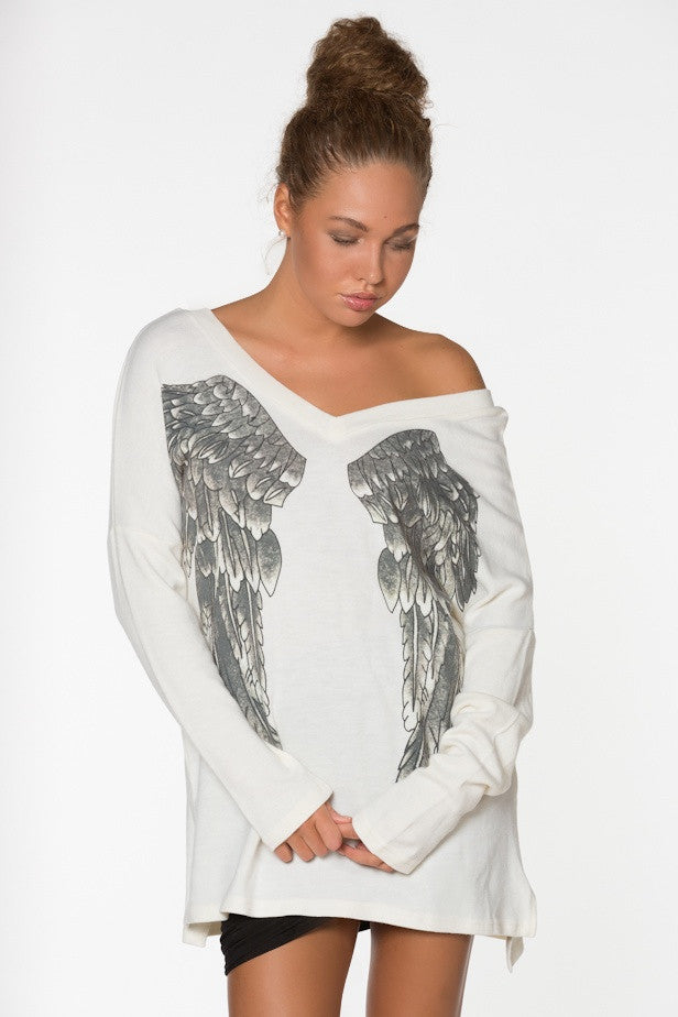 YONCE Angel Wings Oversized Long Sleeve Top