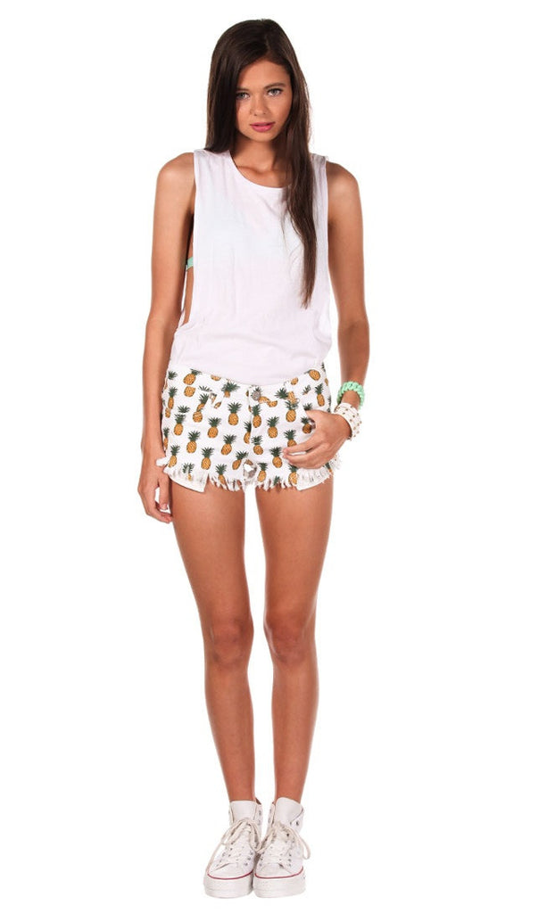 Pineapple Printed Jeans Shorts