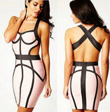 MYA Pink Grey Bandage Dress