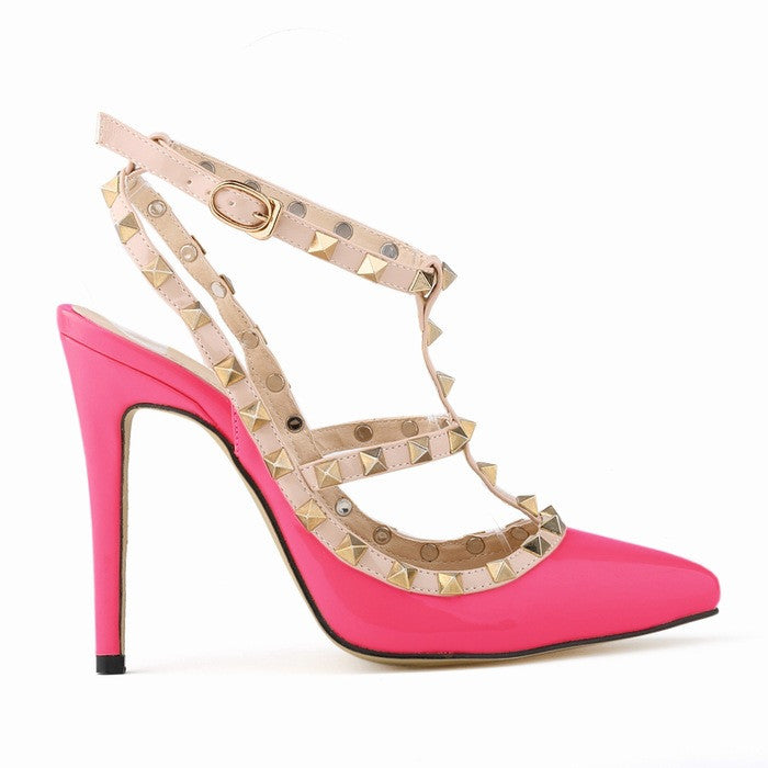 """Rockstud Life"" T-Strap Studded Pumps (5 colors available)"