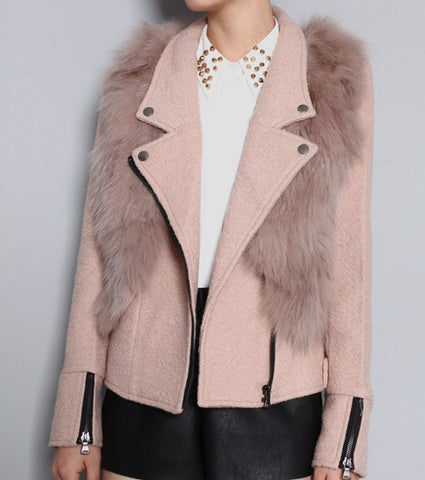Rose Fur Detachable Vest Jacket