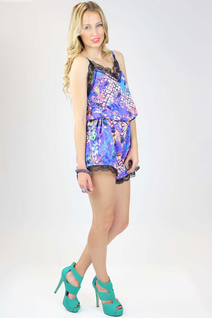 Colorful Abstract Print Playsuit