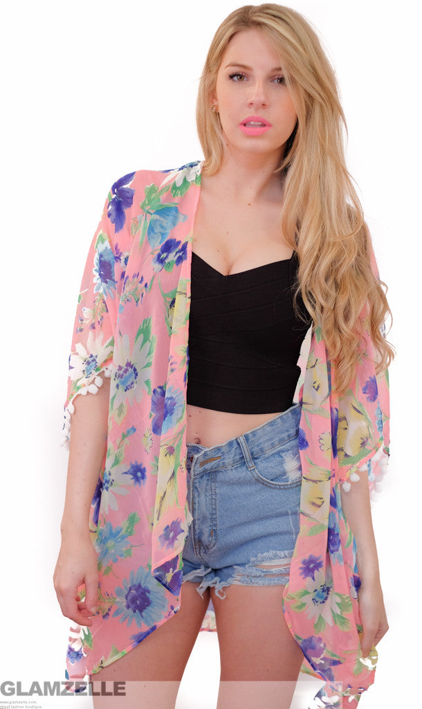 Coachella Floral Print Kimono Pom Pom Cape (2 colors available)