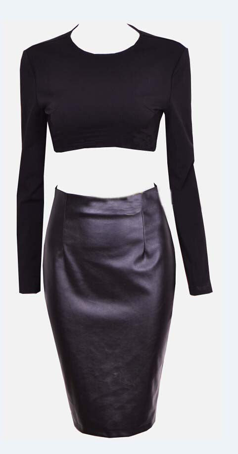"""The Nikita"" Black Leather 2 Pieces Dress"