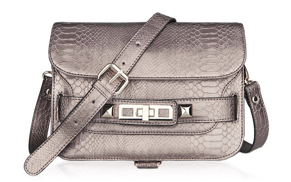 PS11 Python Shoulder Bag- Brown Taupe