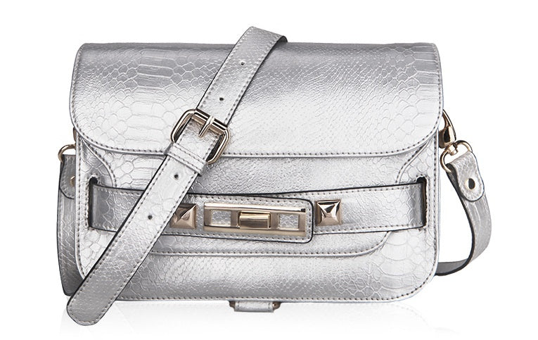 PS11 Python Shoulder Bag- Silver