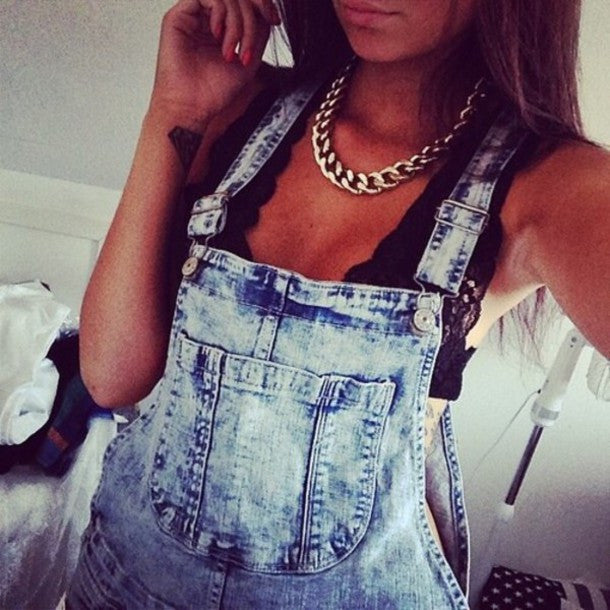 """Field Trip"" Distressed Jeans Overalls Shorts"