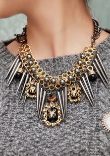 Rivets & Charms Gold Necklace