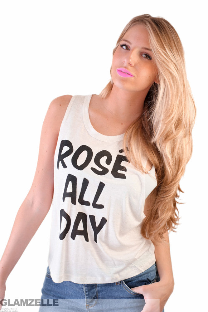 """Rosé All Day"" Muscle Tank"