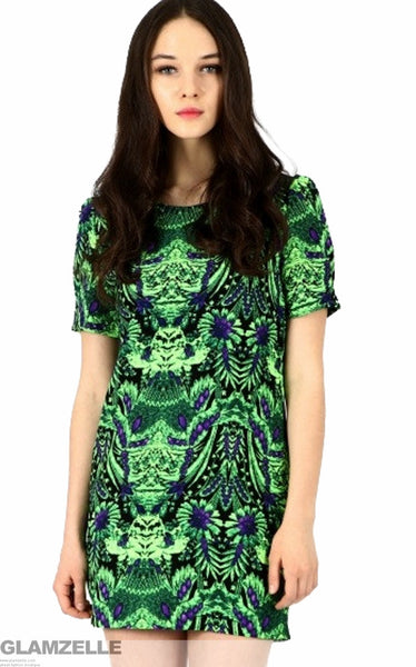 Safari Emerald Green Print Dress