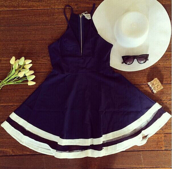 """Sail La Vie"" Navy Skater Dress"