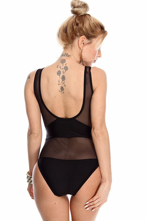 """Sassy Since Birth"" Black Mesh OnePiece Swimsuit"