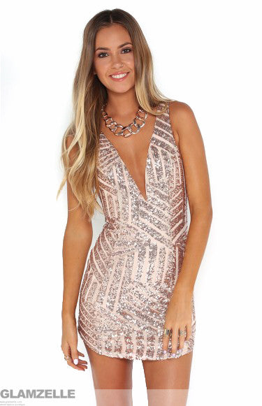 """Plunging Adventure"" Gold Rose Sequin Bodycon Dress"