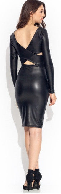 """All Black"" PU Leather Bodycon Dress"