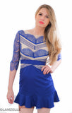 Shades of Blue Lace Panel Skater Dress