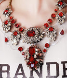 Crystal Embellished Rubis Red Necklace