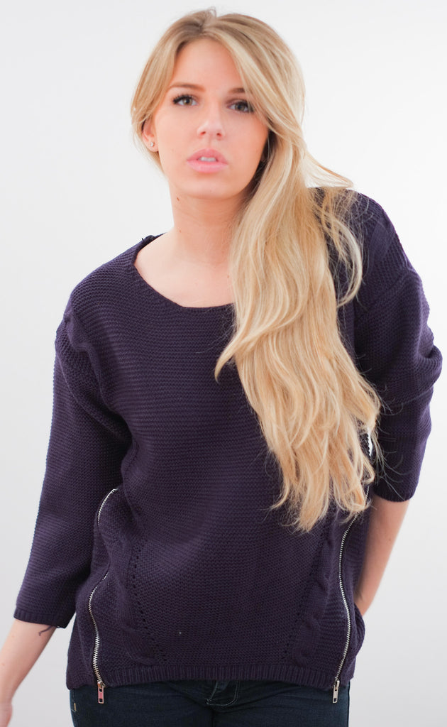 EXCLUSIVE Ribbed Side Zippers Pullover
