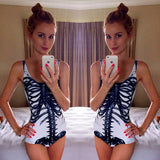Black Ribcage Printed One Piece Swimsuit